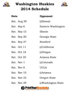 Printable Washington Huskies Football Schedule 2014