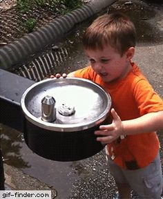 Kid vs. Water Fountain