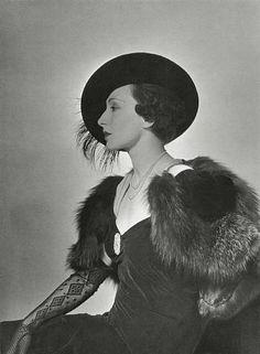 Nimet Eloui Bey, cape by Rouff  and hat by Suzy by George Hoyningen-Huene,  1933