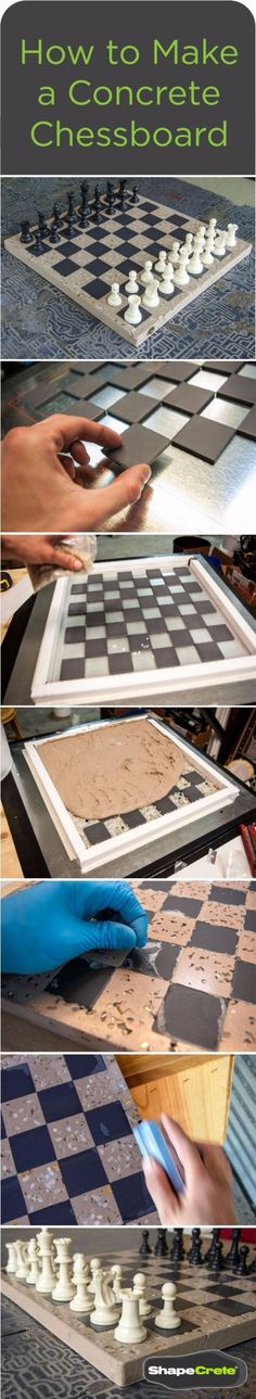 How to Make a Concrete Chessboard: How-to guide made easy with ShapeCrete. DIY Project Guide to make a unique and lasting concrete chess board using ShapeCrete Concrete Mix. (diy things to make with wood) Concrete Crafts, Concrete Art, Concrete Projects, Concrete Design, Diy Projects Love, Table Beton, Beton Design, Diy Games, Easy Woodworking Projects