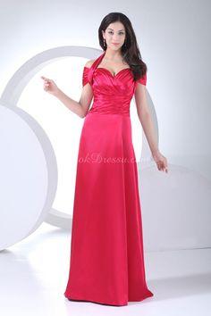 Halter Pleated  Empire Long Elastic Silk Like Satin Bridesmaid Dress ldAC6519 $253.99 Red Bridesmaid Dresses