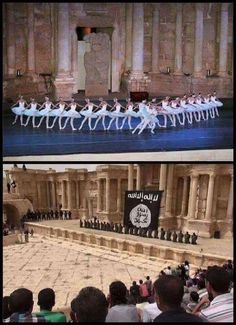 STRANGE MILITARY PIX - ISIS CAPTURED CLASSICAL RUINS OF PALMYRA / TADMUR - CONTRAST OF EXECUTING SYRIAN SOLDIERS AND 2011 WHEN BALLET PERFORMED AT THE AMPHITHEATER