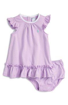 Ralph Lauren Pin Dot Dress (Baby Girls)