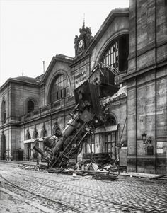 One of the most spectacular accidents of the age occurred at the Montparnasse railway station.  Photo by Antonin Neurdein/Roger-Viollet