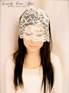 The Lacey Bridal  Vintage Lace Birdcage Veil. $40.00, via Etsy.