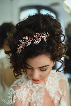 Handmade Hair Wreath on Rose Gold Hairpiece for Bride Hair