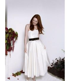 Short A-line Cheap Ankle length Satin Strapless Wedding dress