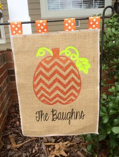 Personalized Burlap Fall Garden Flag by sugarandspicekids on Etsy