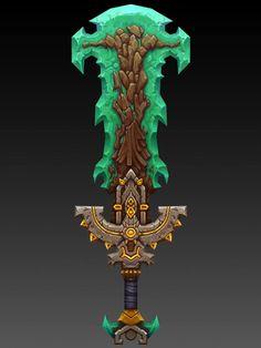 第七期基础课作品_pugui2001_新浪博客 Armor Concept, Weapon Concept Art, Character Art, Character Design, Game Props, Sword Design, Wow Art, Fantasy Weapons, Texture Painting