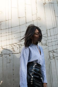 storm wears &other stories lackrock in black with a blue and white maison scotch Blouse