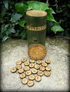 Elder Futhark Rune Vase Divination Witchcraft by WytchenWood, $42.55