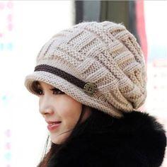 Béret Femme Chapeau Fille Hiver Chaud Tricotage Crochet Bonnet FA