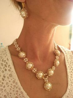 14 KK Gold and Pearl Bridal jewellery set - Necklace and Earring - Pearl  and crystal bridal jewelry - ab12a20eed