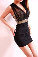 Sexy Women Lace Dresses Short Tight Mini Luxury Club Sequin Party Clubwear Evening Slim Pencil Dress Black(China (Mainland))