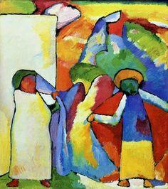 Improvisatie Afrikaans - Kandinsky (1909). Variatie van kleurvelden, met of zonder lijnenspel.