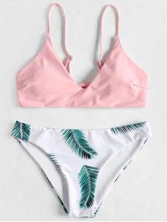 Palm Leaf Pink And Green Bikini Women's Swimwear Bikini Tankini One Piece Patterns Over 40 Big Bust PlusSize High waisted Body Types Modest Swimwear Online Shopping Beauty Swimsuits Triangulo High Waisted For Small Chests For Big Bust S Trendy Swimwear, Cute Swimsuits, Cute Bikinis, Bikini Swimwear, Women Swimsuits, Modest Swimsuits, Swimwear Fashion, Summer Swimwear, Teen Bikinis