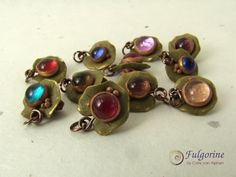 Polymer clay and glass nugget Art Charms by Cate van Alphen