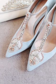 Emmy London Eleonora Duck Egg Blue Bridal Shoes.......