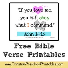 Tons of Free Bible Verse Printables for young children. Preschool Bible Verses, Bible Verses For Kids, Verses For Cards, Printable Bible Verses, Bible Activities, Kids Bible, Bible Story Crafts, Free Bible, Kids Church