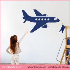 vliegtuig-muursticker-silhouet-embleem-passagiers-kinderkamer-jongens-meisjes-kinderen