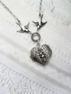 Silver Locket Necklace - Silver Heart Locket - My Guardian Angel