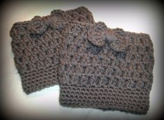 Made+to+Order+Crochet+Boot+Cuff+with+Bow+by+MaeBellesMakings,+$8.00