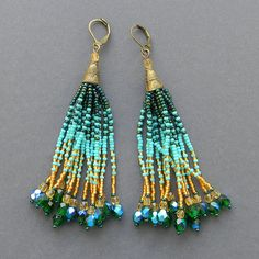 Turquoise and gold  fringe earrings  beadwork by Anabel27shop