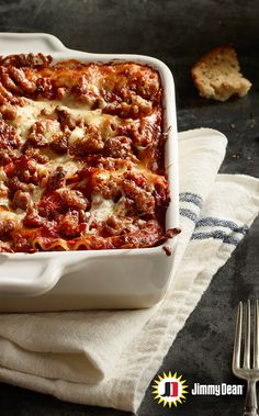 Heat up your holiday recipes with Hot Style Sausage Lasagna. Layer upon layer upon layer of Premium Jimmy Dean Hot Pork Sausage with signature seasonings, gooey cheese and zesty tomato sauce will have you hoping the layers never end.