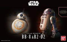 Star Wars 1/12 scale BB-8&R2-D2 plastic model 2015 and BANDAI MADE IN JAPAN  #Bandai