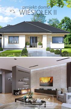 """Projekt nowoczesnego, energooszczędnego domu parterowego """"Wiesiołek II G2"""" z garażem dwustanowiskowym i dachem wielospadowym, dla rodziny czteroosobowej. Wygodne i przejrzyste wnętrze zostało doskonale oświetlone dzięki imponującej powierzchni przeszkleń, co znajduje odzwierciedlenie w świetlistym salonie. Z dużego przedsionka można dostać się zarówno do centralnej części domu, jak i do kuchni - przez otwartą z dwóch stron, sporą spiżarnię. Town House Plans, House Layout Plans, Bungalow House Plans, House Layouts, Small House Plans, Duplex House, Modern Bungalow House Design, Modern House Facades, Modern Bungalow Exterior"""