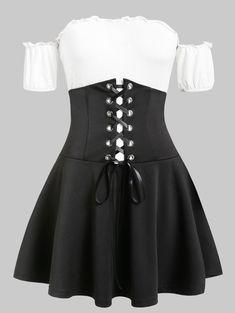 Plus Size Two-piece Contrast Dress - multicolor Plus Size Dresses, Plus Size Outfits, Plus Size Two Piece, Plus Size Kleidung, Lolita, Asymmetrical Dress, Fashion Outfits, Fashion Site, Men Fashion
