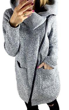 Cruiize Women's Fashion Oblique Zip Up Funnel Neck Outwear Jackets Trench Coat Grey US L