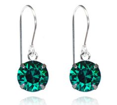 Emerald Single Crystal Drop Earrings - $9.80