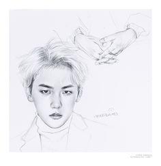 Baekhyun by. Kpop Drawings, Art Drawings, Exo Anime, Exo Fan Art, Art Inspiration Drawing, 3 Arts, Kpop Fanart, Drawing Sketches, Drawing Tips