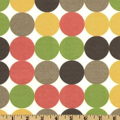 Dwell Studio IDotscene Spring from @fabricdotcom  Designed by Dwell Studio, To maintain the life of the fabric bring indoors when not in use. Create decorative pillows, chair pads, table accents, cushions, deck chairs, slipcovers and upholstery. Colors include brown, taupe, coral rose, lime and yellow on an ivory background.