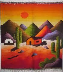 Resultado de imagen para tapices en telar del norte argentino Tole Painting, Fabric Painting, Watercolor Paintings, Weaving Textiles, Tapestry Weaving, Peruvian Art, Desert Art, Art Textile, Southwest Art