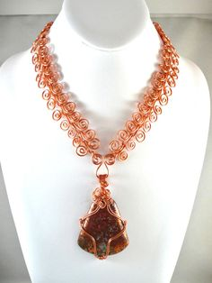 A Taste of Copper - Jewelry creation by Madalynne Homme Copper Jewelry, Wire Jewelry, Jewelry Art, Beaded Jewelry, Jewelry Necklaces, Unique Jewelry, Jewelry Ideas, Wire Pendant, Pendant Jewelry