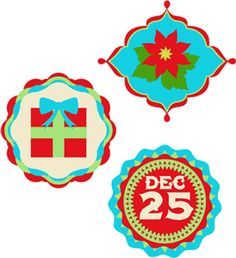 Silhouette Design Store - View Design #35391: christmas circle labels