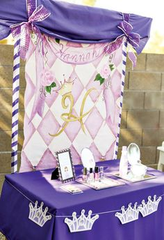 I love the ideas from this party -- a Princess Beauty Station for nail decorating -- print outs of princesses and crayons, and bow favors.