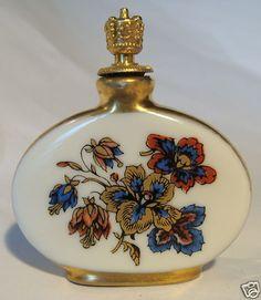 Antique Germany Porcelain Perfume Scent Bottle Crown Top Incised Numbers German Flowers