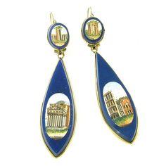 Antique Micromosaic Lapis Lazuli Gold Earrings