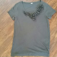 J Crew Grey Ruffle T Size Large Great condition J. Crew Tops Tees - Short Sleeve