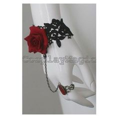 Gothic Lolita Rose lace Choker Cuff with Ring Earrings Set ❤ liked on Polyvore featuring jewelry, rings, gothic jewelry, gothic jewellery, goth rings, lace cuff rings and goth jewelry