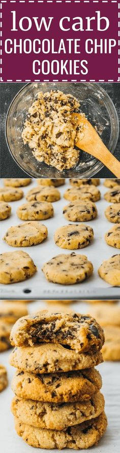 These are the best low carb chocolate chip cookies that I've ever had. They're great healthy snack ideas because they're sugar free, flourless, keto, lchf, and gluten free. You can eat them on a paleo diet by replacing butter with coconut oil. The dough is made using almond flour, chocolate chips, and vanilla extract -- results in soft and chewy cookies ever time. So simple, quick, and easy to make. #cookies #keto #lowcarb #chocolate
