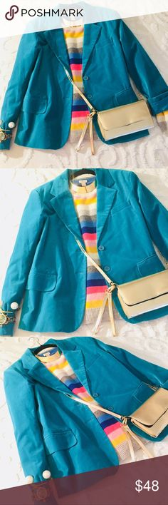 """Turquoise Velvet Blazer Super cute equestrian style turquoise velvet boyfriend Blazer in excellent condition perfect for all fall and winter occasions. Great preppy item for the office, brunch or holiday season. Bust 39"""" Length 26"""" Jackets & Coats Blazers"""