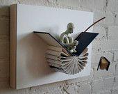 Origami art sculpture book folding ideas for 2019 Folded Book Art, Book Folding, Book Crafts, Paper Crafts, Paper Mache Clay, Polymer Clay Sculptures, Paper Sculptures, Altered Book Art, Book Sculpture