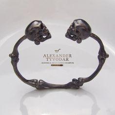 Holy bones black   gothic skull bracelet bones gold by TYVODAR