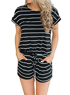 Cromoncent Womens Summer Striped Short Sleeve Elastic Waist Rompers Jumpsuit
