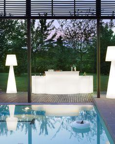 Break Bar counter, Ice Bar counter and Pivot floor lamp, design Carlo Constantini.