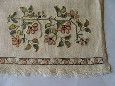 RARE Antique Turkish Ottoman SILVER METALLIC Hand Embroidered Linen Towel